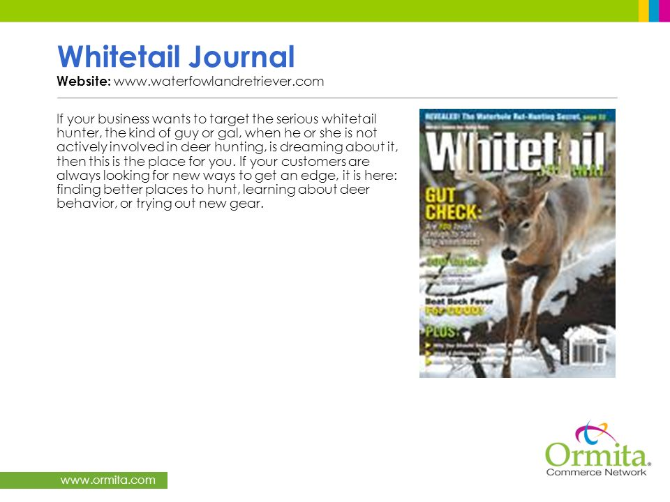 Whitetail Journal Website: www.waterfowlandretriever.com