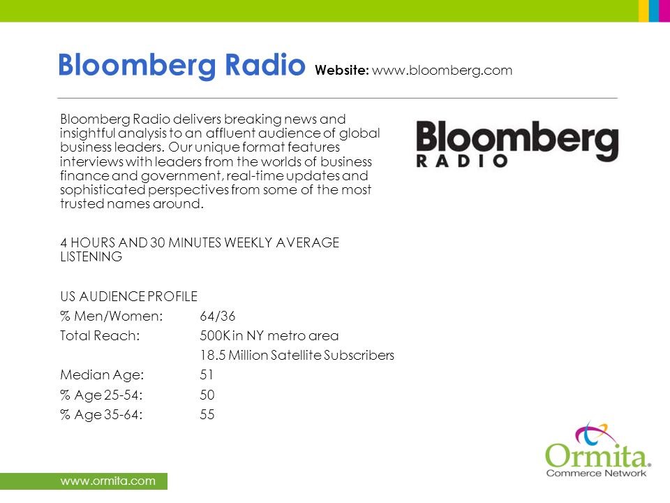 Bloomberg Radio Website: www.bloomberg.com