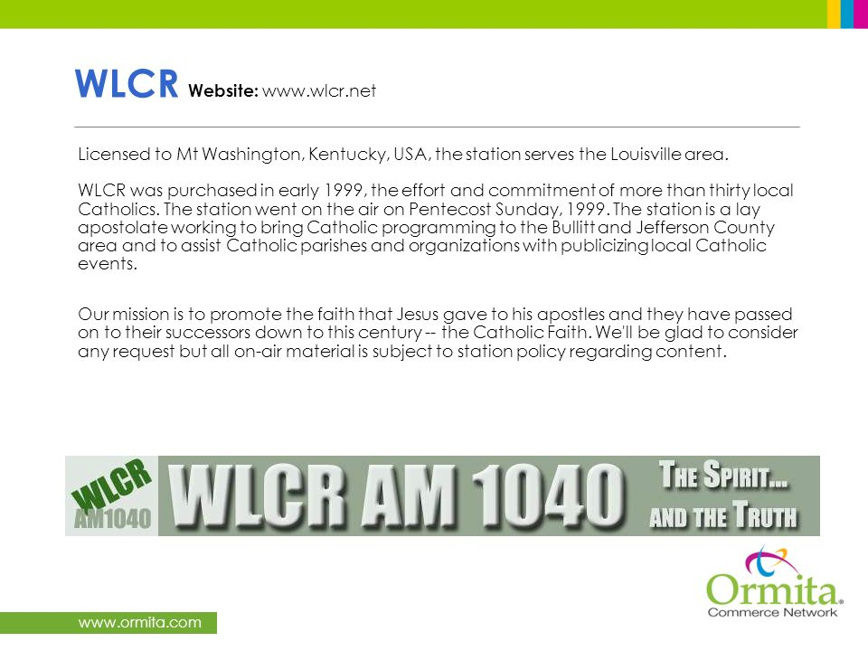 WLCR Website: www.wlcr.net