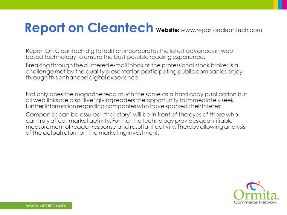 Report on Cleantech Website: www.reportoncleantech.com