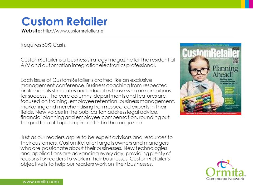 Custom Retailer Website: http://www.customretailer.net
