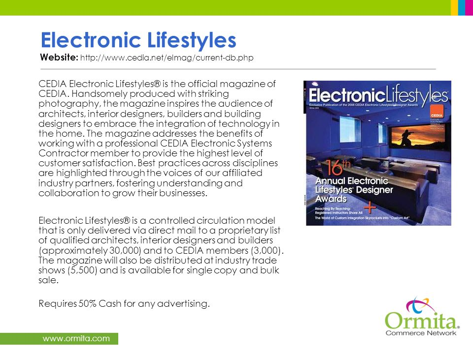 Electronic Lifestyles Website: http://www. cedia. net/elmag/current-db