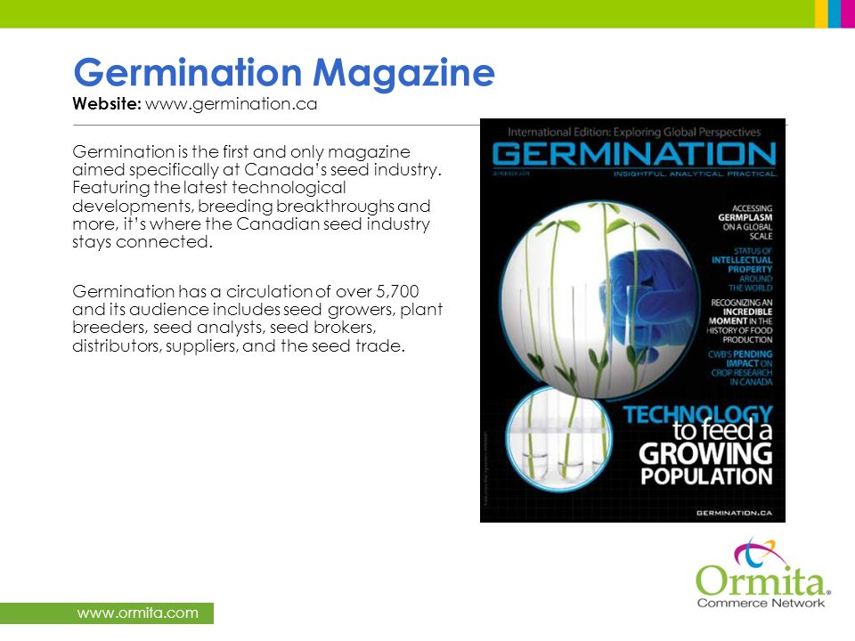 Germination Magazine Website: www.germination.ca