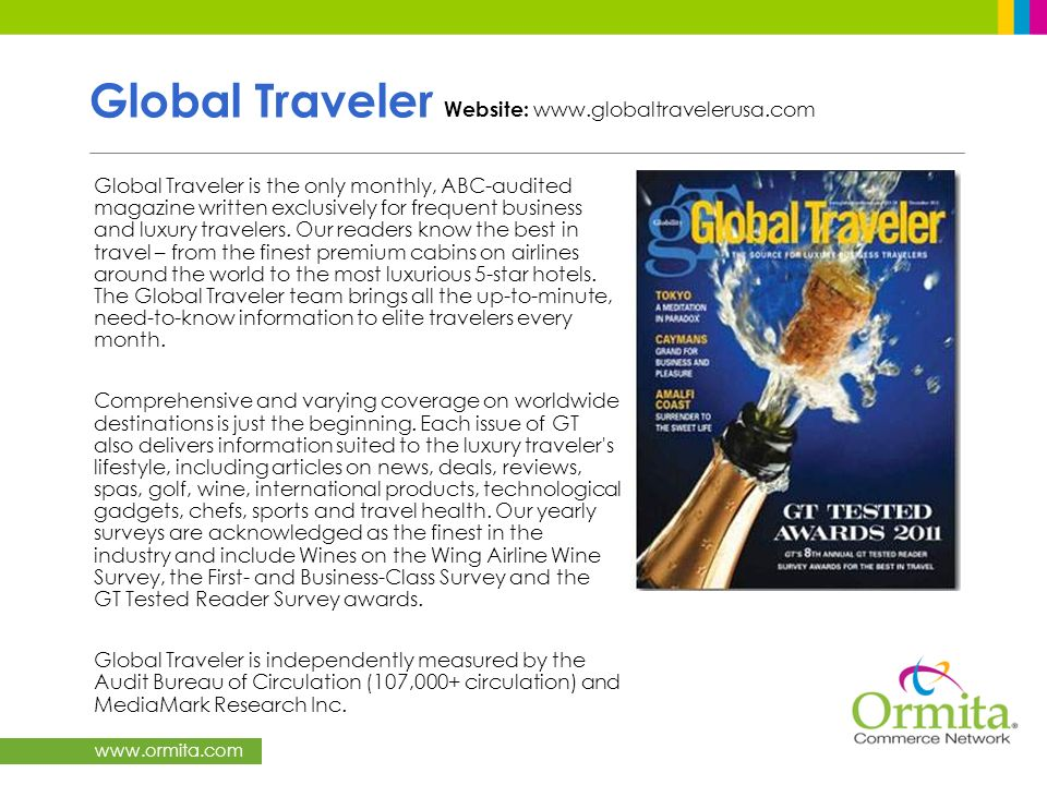Global Traveler Website: www.globaltravelerusa.com