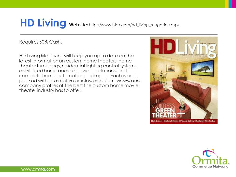 HD Living Website: http://www.htsa.com/hd_living_magazine.aspx