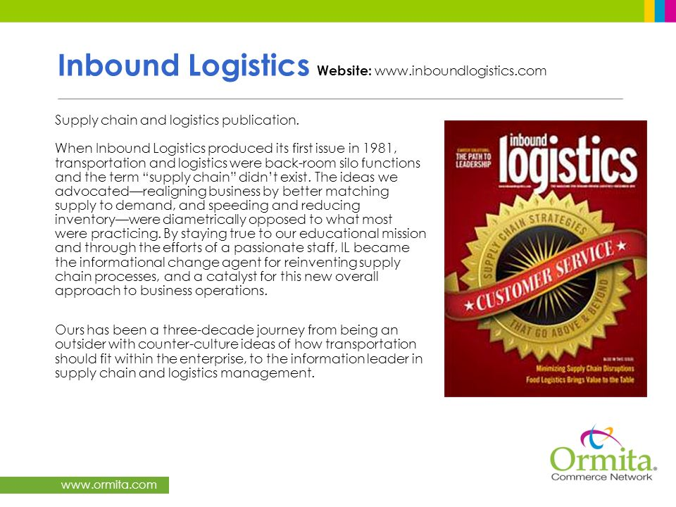 Inbound Logistics Website: www.inboundlogistics.com