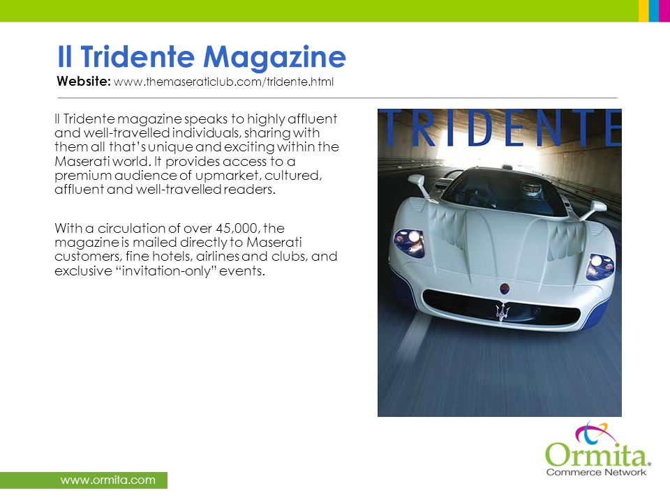 Il Tridente Magazine Website: www.themaseraticlub.com/tridente.html