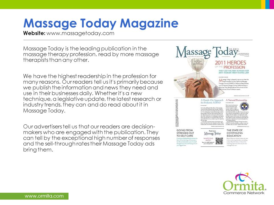 Massage Today Magazine Website: www.massagetoday.com