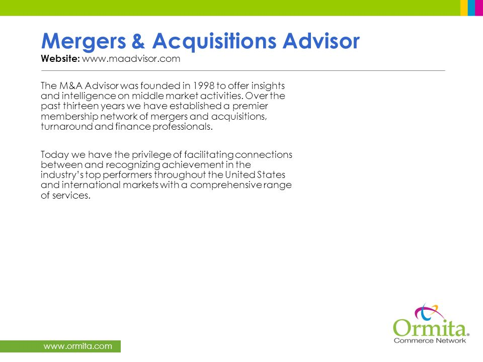 Mergers & Acquisitions Advisor Website: www.maadvisor.com
