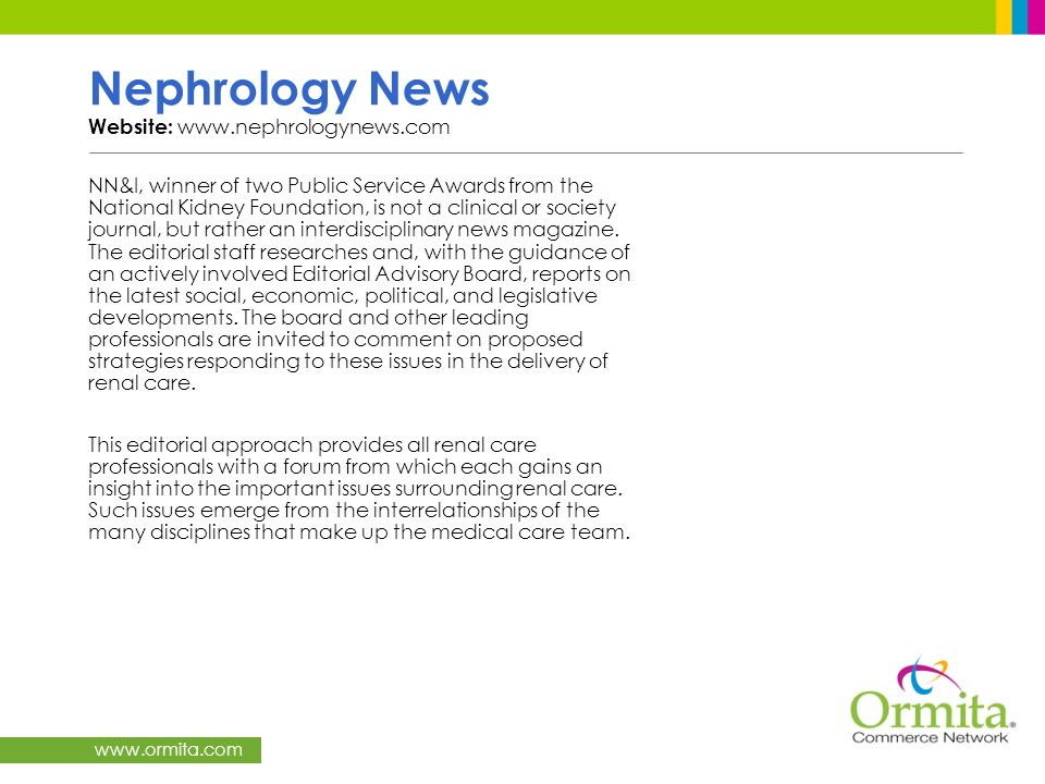 Nephrology News Website: www.nephrologynews.com