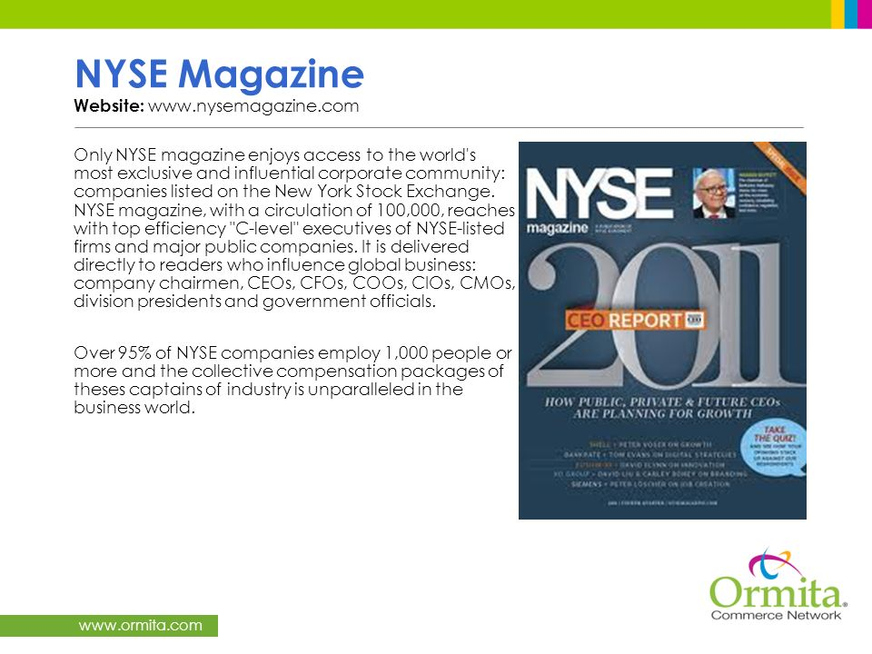 NYSE Magazine Website: www.nysemagazine.com