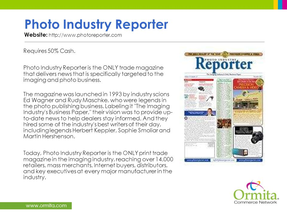 Photo Industry Reporter Website: http://www.photoreporter.com