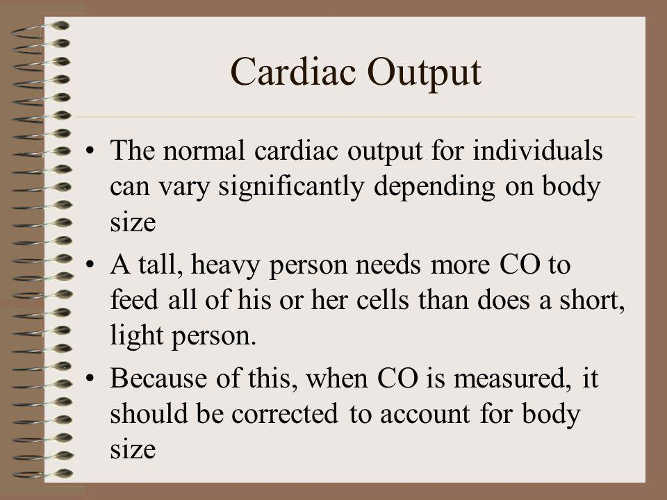 Cardiac Output The normal cardiac output for individuals can vary significantly depending on body size.