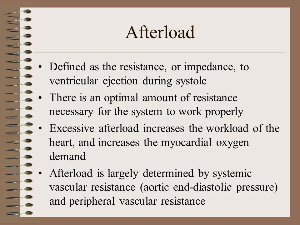 Afterload Defined as the resistance, or impedance, to ventricular ejection during systole.
