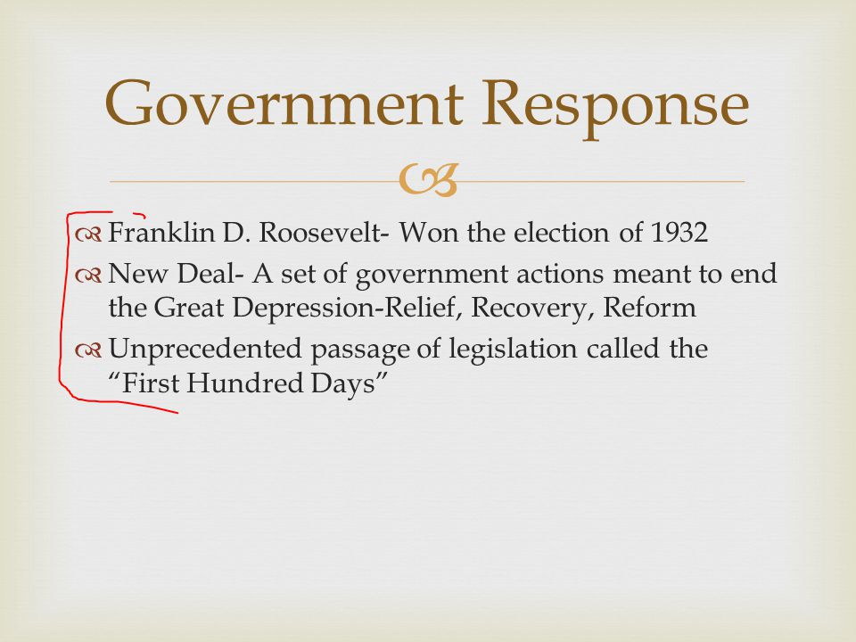 Government Response Franklin D. Roosevelt- Won the election of 1932