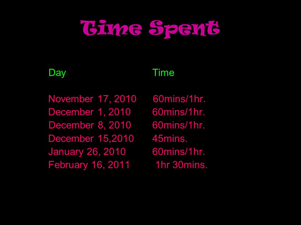 Time Spent Day Time November 17, 2010 60mins/1hr.