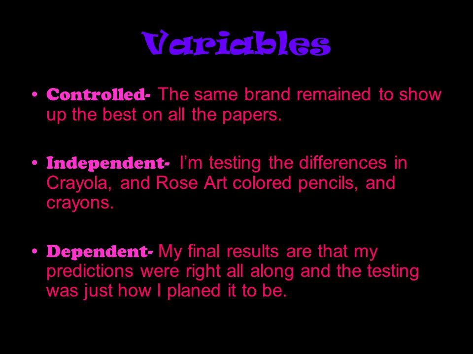 Variables Controlled- The same brand remained to show up the best on all the papers.