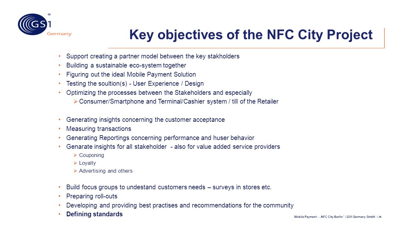 Key objectives of the NFC City Project