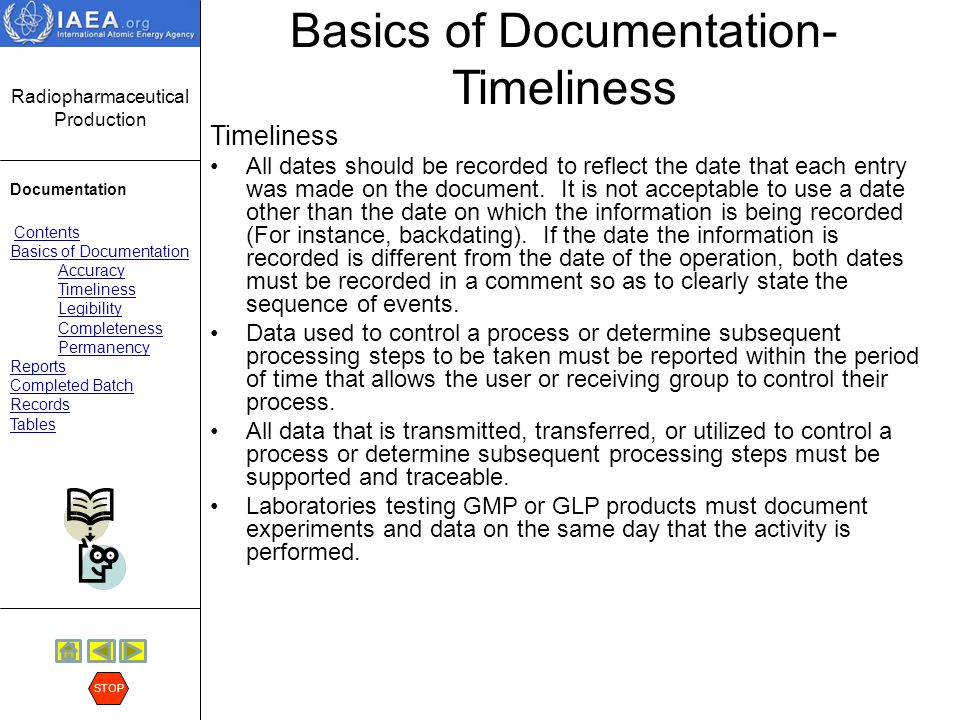 Basics of Documentation- Timeliness