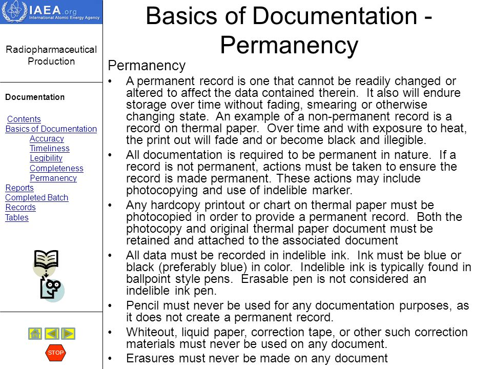 Basics of Documentation - Permanency