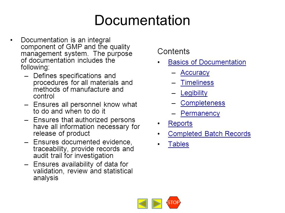 Documentation Contents