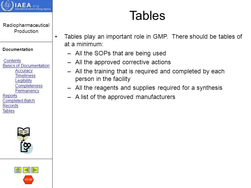 Tables Tables play an important role in GMP. There should be tables of at a minimum: All the SOPs that are being used.