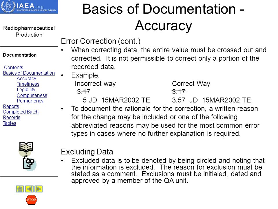 Basics of Documentation - Accuracy