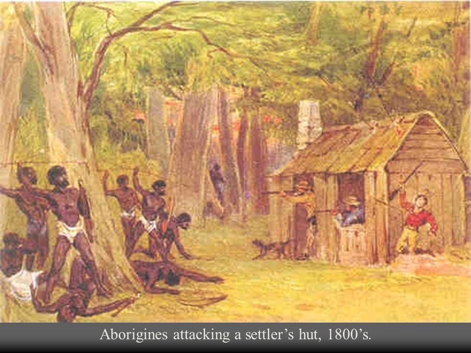 Aborigines attacking a settler's hut, 1800's.