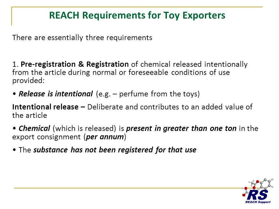 REACH Requirements for Toy Exporters