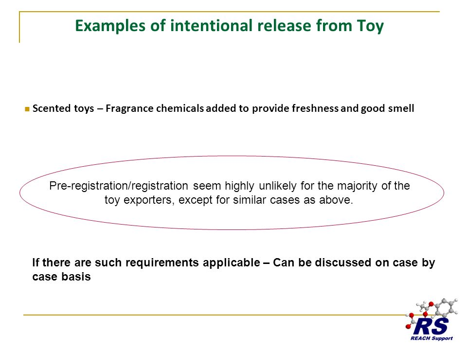 Examples of intentional release from Toy