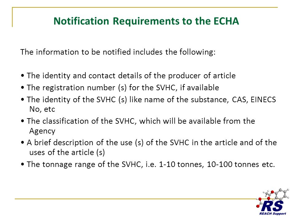 Notification Requirements to the ECHA