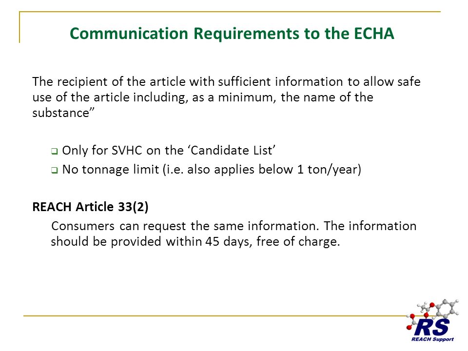 Communication Requirements to the ECHA