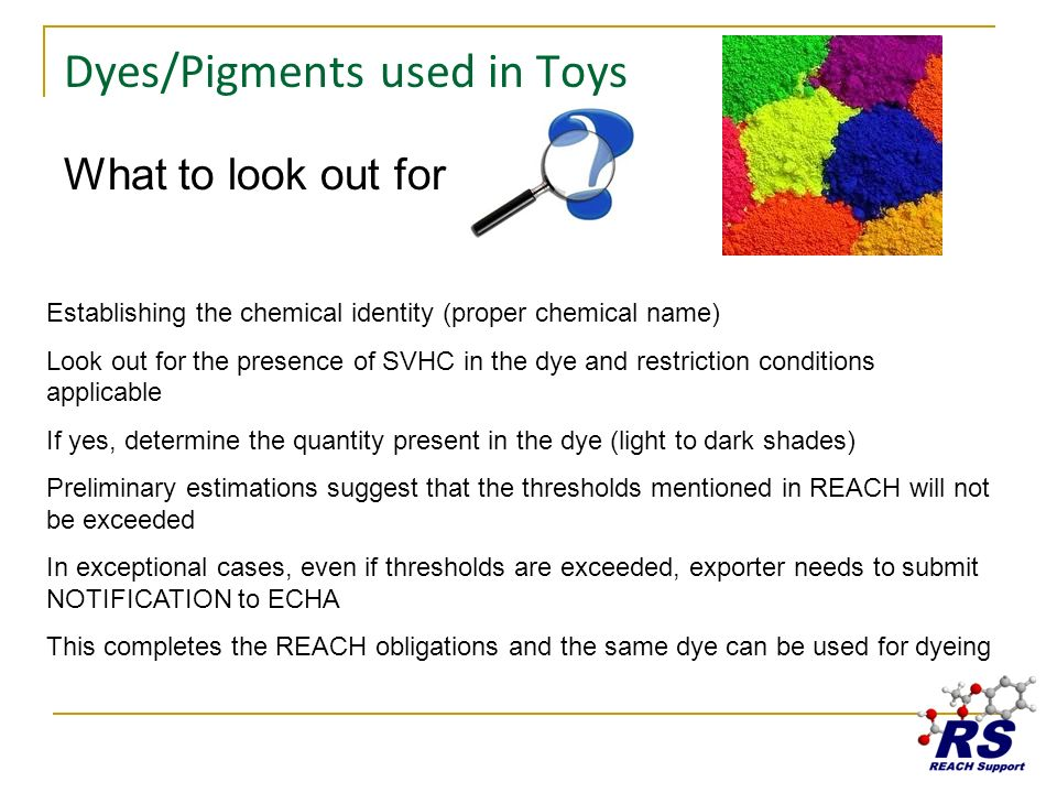 Dyes/Pigments used in Toys