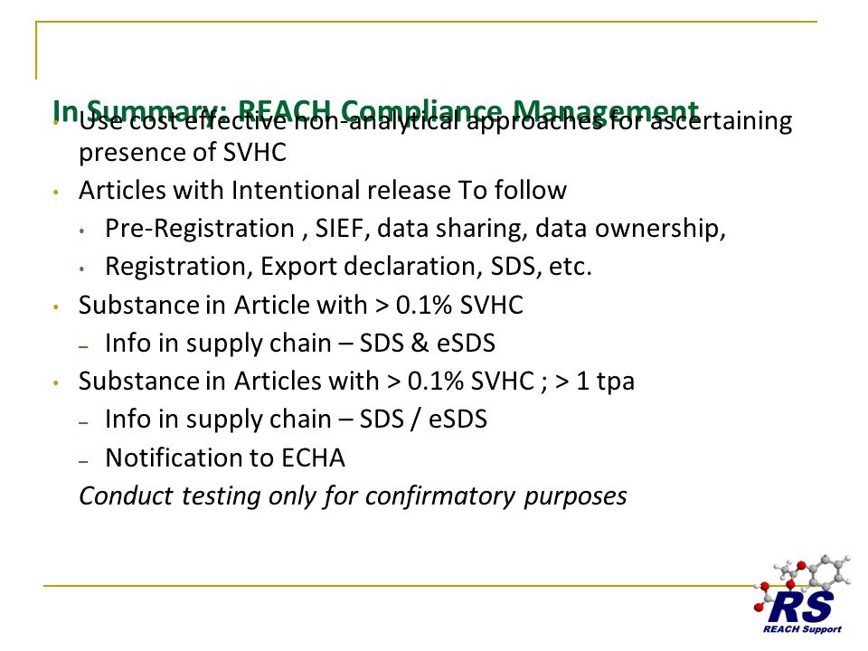 In Summary: REACH Compliance Management