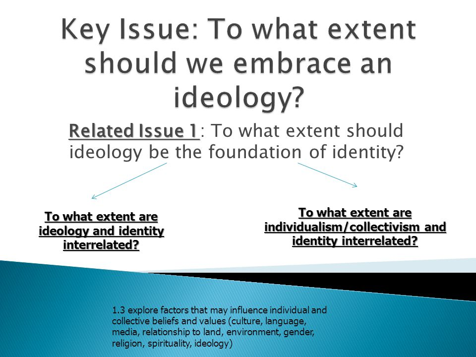 Key Issue: To what extent should we embrace an ideology