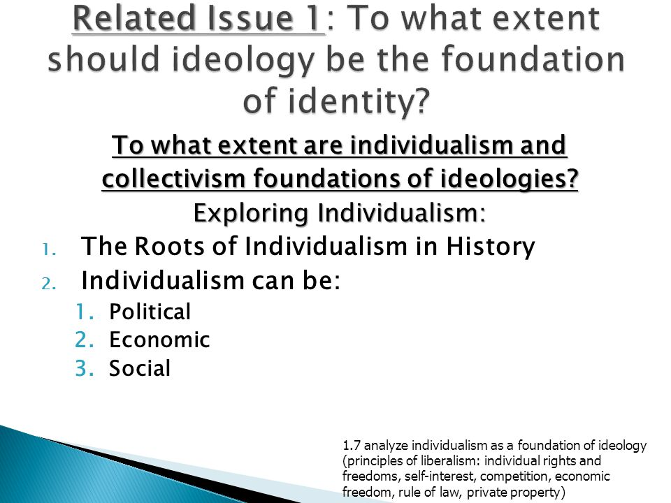 Related Issue 1: To what extent should ideology be the foundation of identity