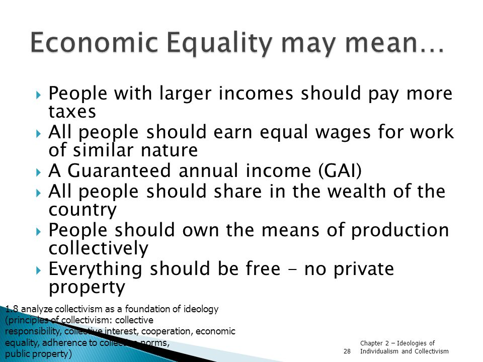 Economic Equality may mean…