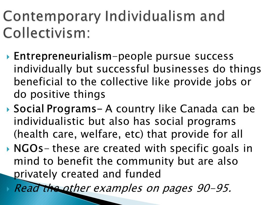 Contemporary Individualism and Collectivism: