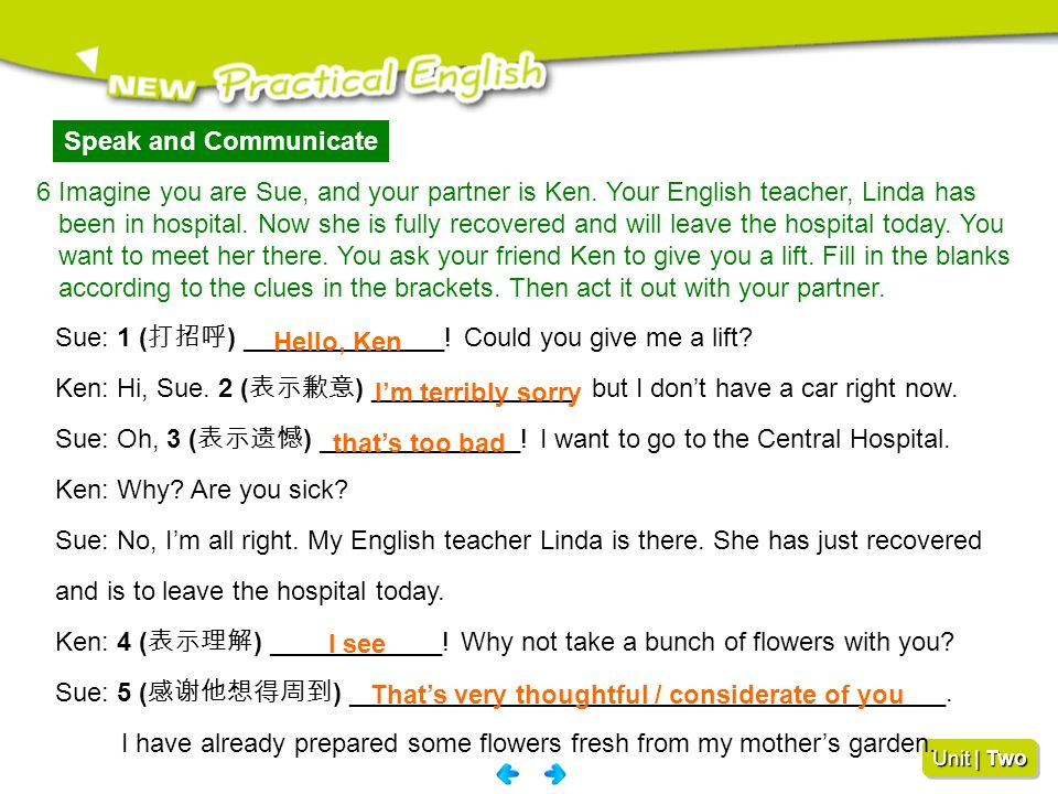 Speak and Communicate 6 Imagine you are Sue, and your partner is Ken. Your English teacher, Linda has.