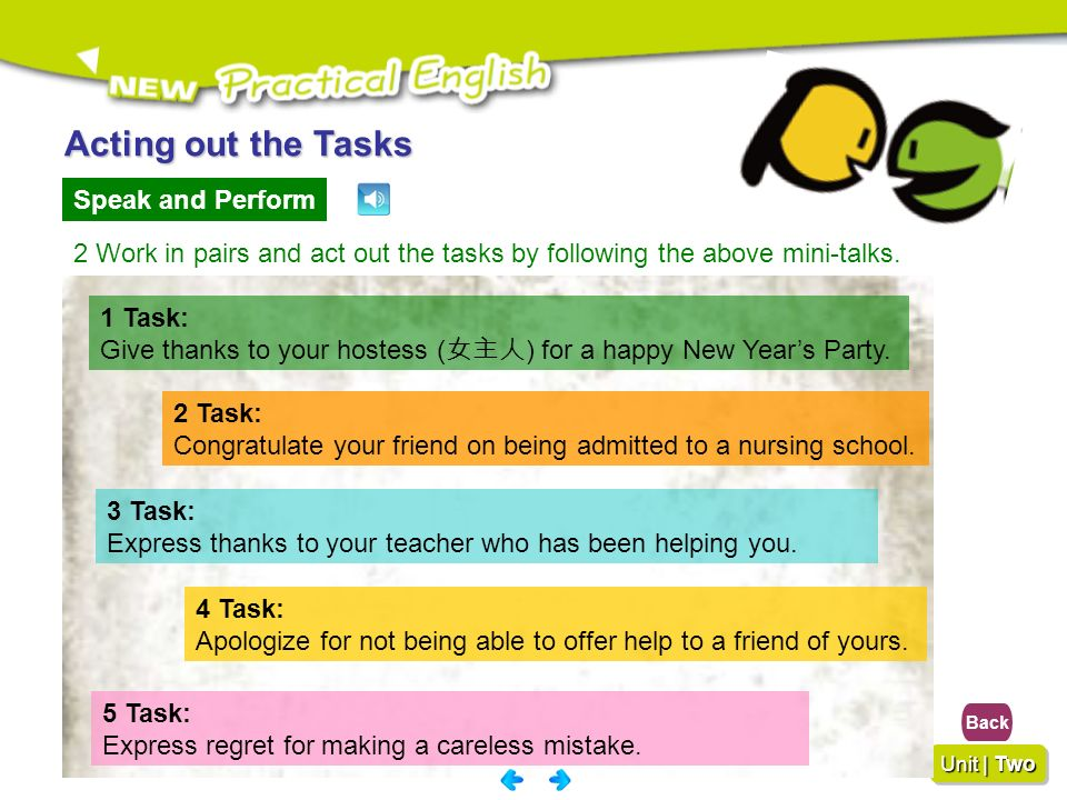 Acting out the Tasks Speak and Perform
