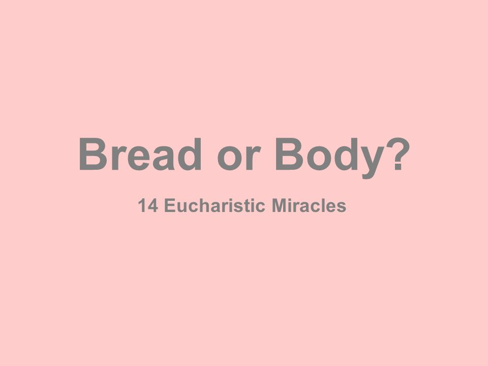 Bread or Body 14 Eucharistic Miracles