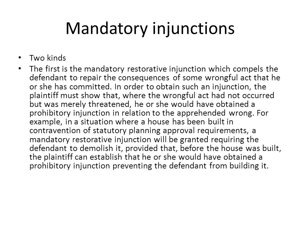 Mandatory injunctions
