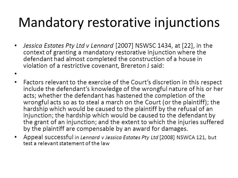 Mandatory restorative injunctions