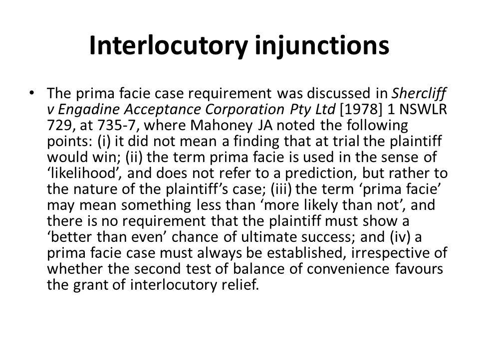 Interlocutory injunctions
