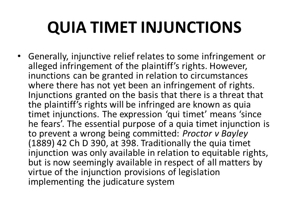 QUIA TIMET INJUNCTIONS
