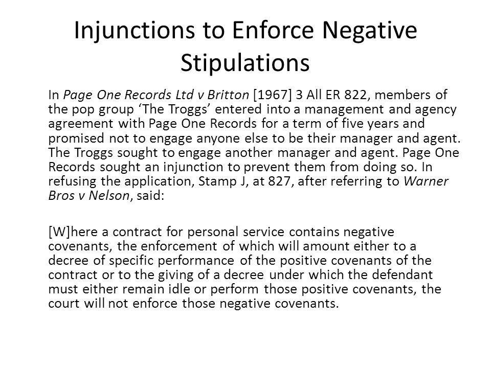 Injunctions to Enforce Negative Stipulations