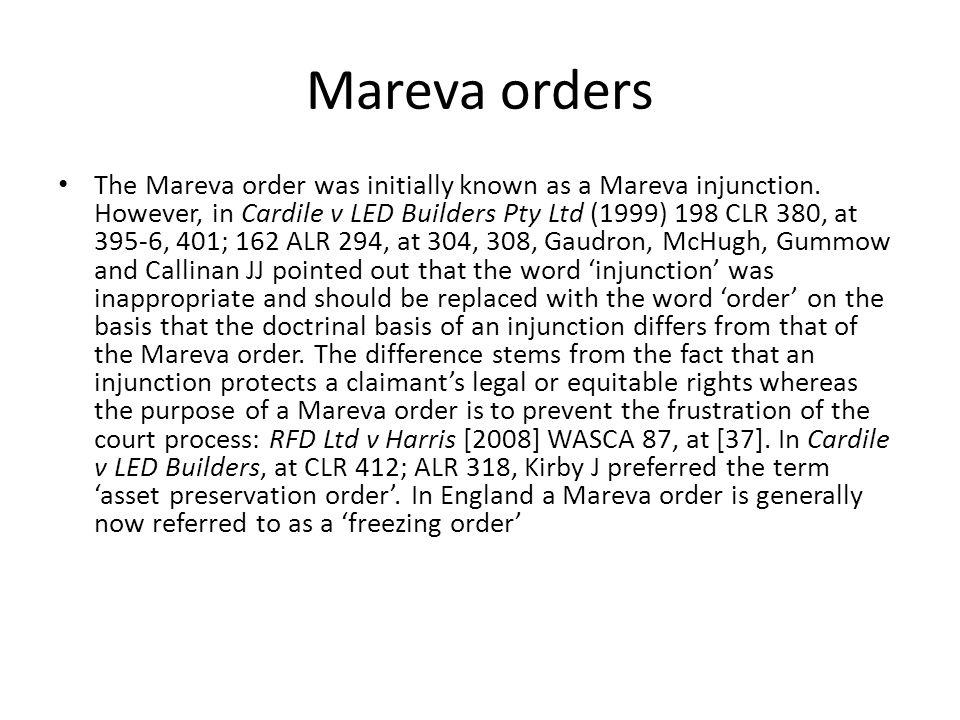 Mareva orders