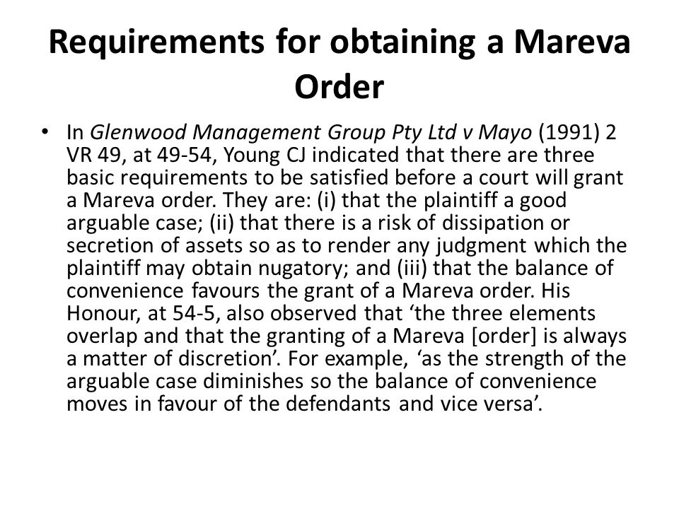 Requirements for obtaining a Mareva Order