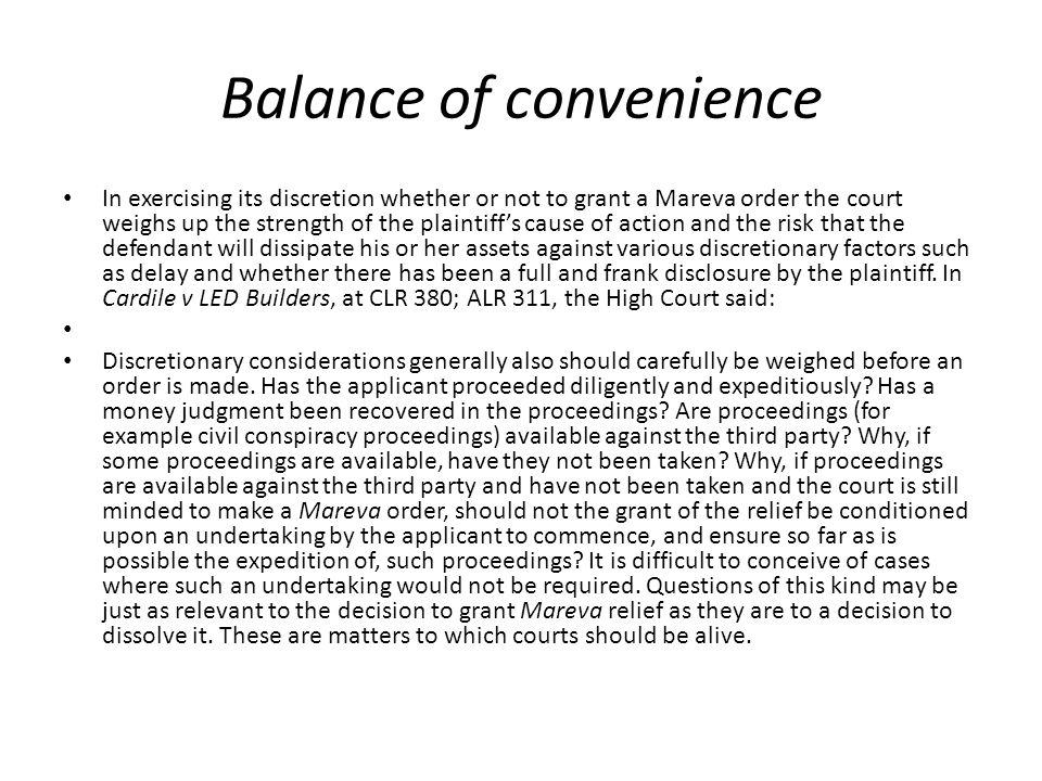 Balance of convenience
