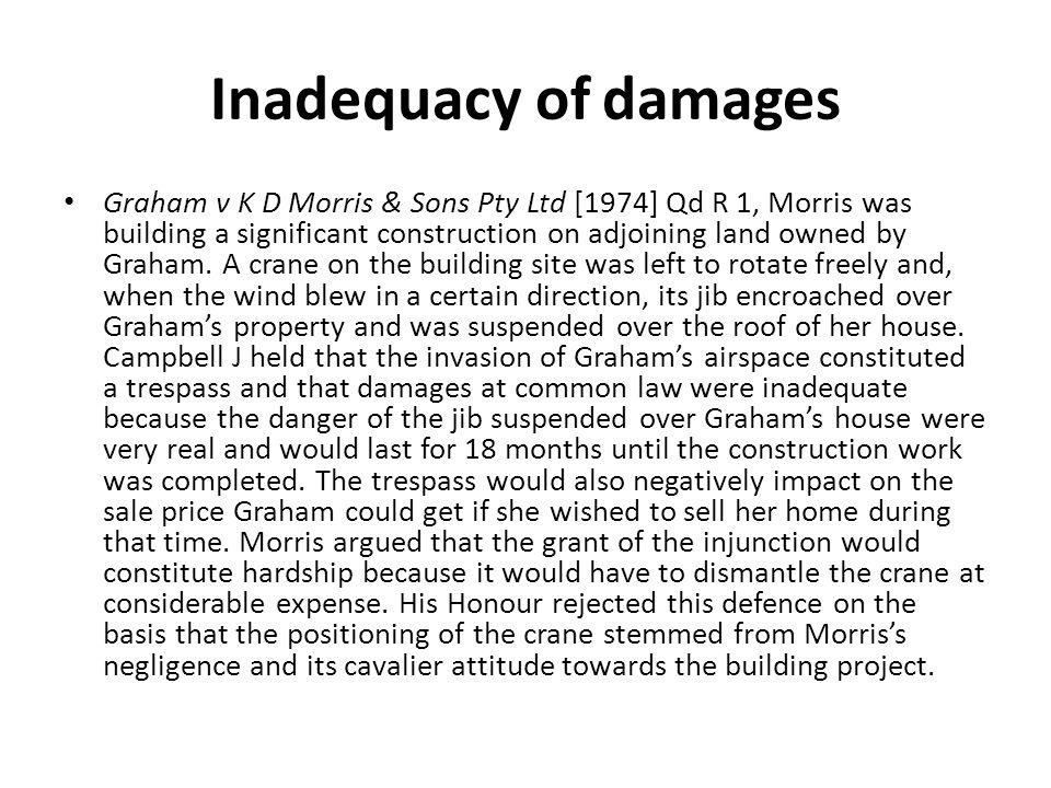 Inadequacy of damages
